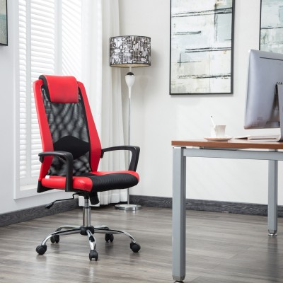 Flipkart Perfect Homes Rex Fabric Office Executive Chair(Red)