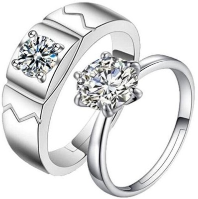 0bba387e8 68% OFF on MYKI King & Queen Love Forever Adjustable Couple Rings Sterling  Silver Swarovski Zirconia 24K White Gold Plated Ring on Flipkart |  PaisaWapas.com