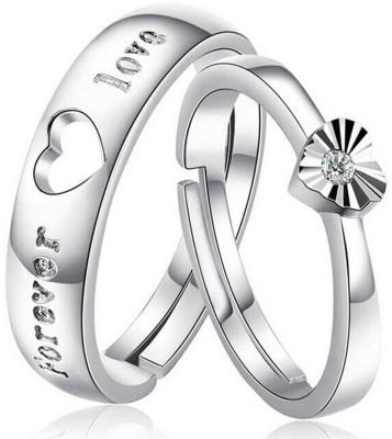 MYKI Love Forever Adjustable Couple Rings Sterling Silver Swarovski Zirconia 24K White Gold Plated Ring