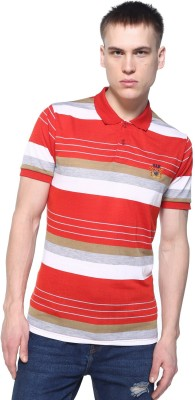 HARBOR N BAY Striped Men's Polo Neck Red T-Shirt