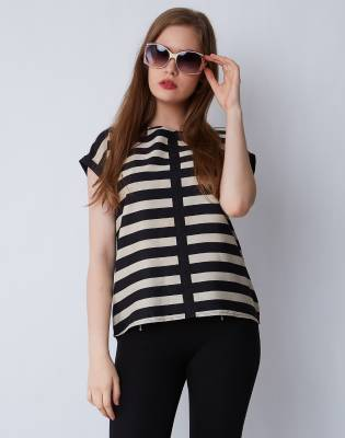 Provogue Casual Sleeveless Striped Women's Black Top