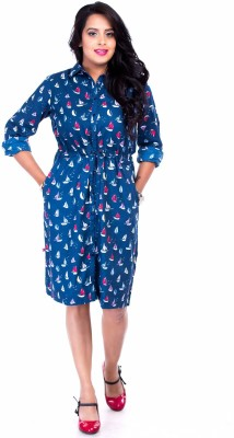 Butterfly Women Shirt Blue Dress