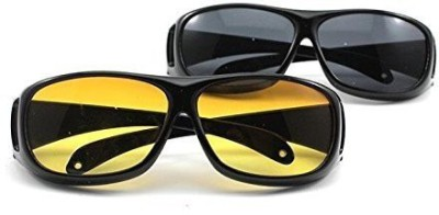 LUMONY Day Night HD Vision Goggles Anti-Glare Polarized Sunglasses Men/Women Driving Glasses Sun Glasses UV Protection Car Drivers Motorcycle Goggles(Black, Yellow)  available at flipkart for Rs.399