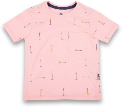 U.S. Polo Assn Boys Printed Cotton T Shirt(Pink, Pack of 1)