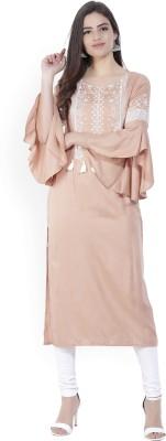 Aurelia Printed Women Straight Kurta(Pink)