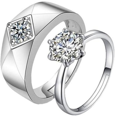 893402e57 76% OFF on MYKI King & Queen Love Forever Adjustable Couple Rings Sterling  Silver Swarovski Zirconia 24K White Gold Plated Ring on Flipkart |  PaisaWapas.com