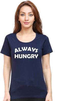 Be Awara Graphic Print Women Round Neck Blue T-Shirt