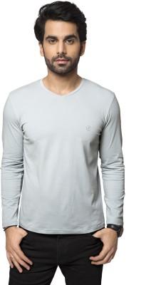 ZEYO Solid Men's V-neck Grey T-Shirt