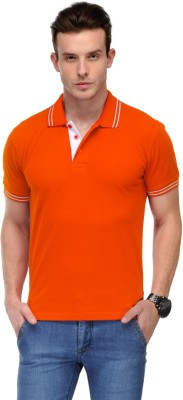 AWG Solid Men Polo Neck Orange T-Shirt