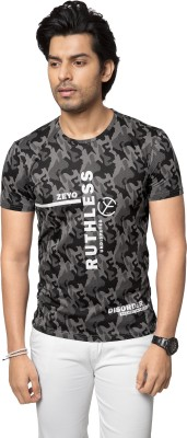 ZEYO Military Camouflage, Printed Men's Round Neck Grey T-Shirt