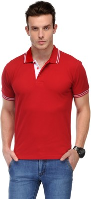 AWG Solid Men Polo Neck Red T-Shirt