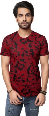 ZEYO Military Camouflage Men's Round Neck Red T-Shirt
