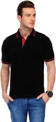 AWG Solid Men Polo Neck Black T-Shirt