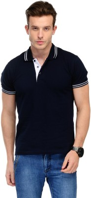 AWG Solid Men Polo Neck Blue T-Shirt