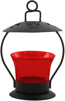 Heaven Decor Iron, Glass Tealight Holder(Red, Pack of 1) at flipkart
