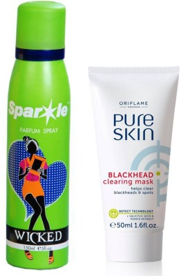Oriflame Sweden Pure Skin Blackhead Clearing Mask 50ml (32650) With one sparkle perfume spray 150 ml(Set of 2)  available at flipkart for Rs.445