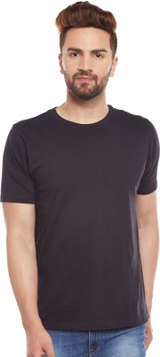 The Dry State Solid Men Round Neck Black T-Shirt