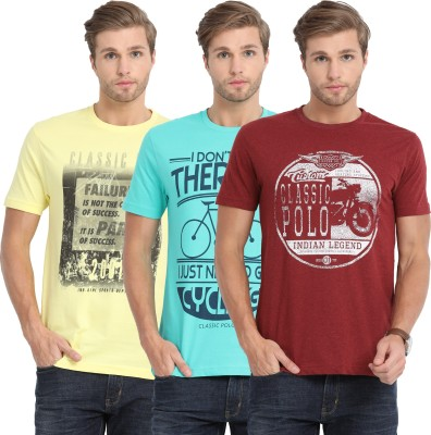 Classic Polo Printed Men Round Neck Multicolor T-Shirt(Pack of 3)