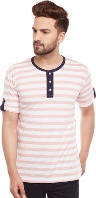 The Dry State Striped Men Henley Multicolor T-Shirt