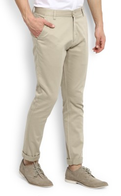 Indigo Nation Slim Fit Men's Beige Trousers