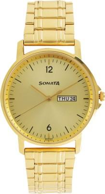 Sonata 77083YM03 Gents Essentials Analog Watch For Men