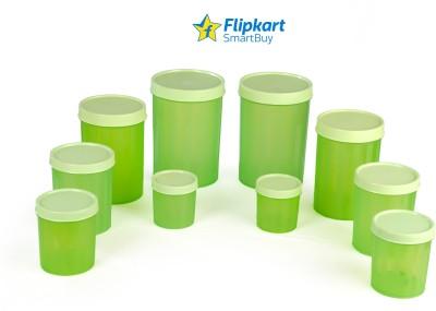 Flipkart SmartBuy Elegance  - 2000 ml, 1500 ml, 800 ml, 500 ml, 300 ml Polypropylene Grocery Container, Fridge Container(Pack of 10, Green)