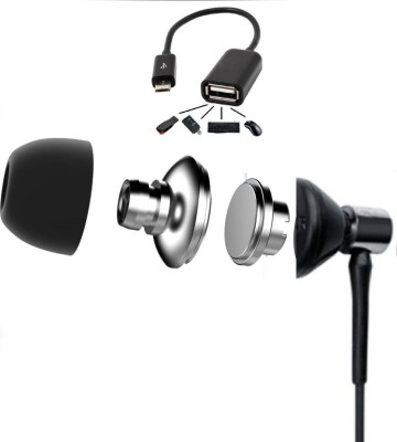 SHAR Big Daddy Bass Combo Earphone(black)+OTG Cable (black or white) Wired Headset with Mic(Black, In the Ear)