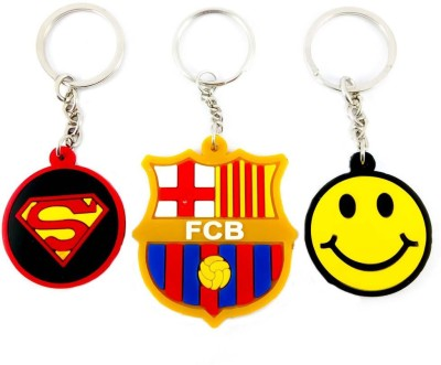 ShopTop Combo Non-Metallic pack of 3 keychain ( Superman, Barcelona F.C, Smiley) Key Chain  available at flipkart for Rs.160