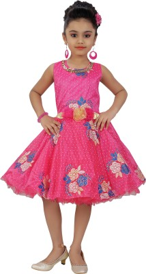 Saarah Girls Midi/Knee Length Party Dress(Pink, Sleeveless)