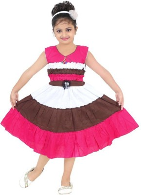 N BAHUBALI Girls Midi/Knee Length Casual Dress(Multicolor, Sleeveless)