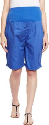 Oxolloxo Solid Women Blue Basic Shorts