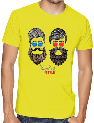 Casotec Printed Men Round Neck Yellow T-Shirt