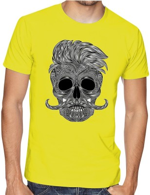 Casotec Printed, Graphic Print Men Round Neck Yellow T-Shirt
