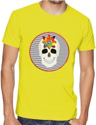 Casotec Printed Men's Round Neck Yellow T-Shirt