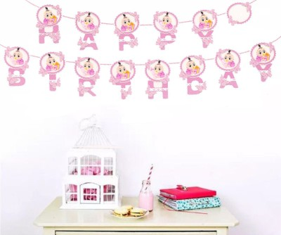 AMFIN Happy Birthday banner For Girls / Happy Birthday Banner with Name / birthday party decoration Materials - Pink & White Banner(3 ft, Pack of 1)