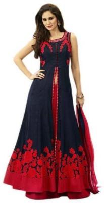 zinariya fab Embroidered Semi Stitched Lehenga & Kurta(Blue, Red)