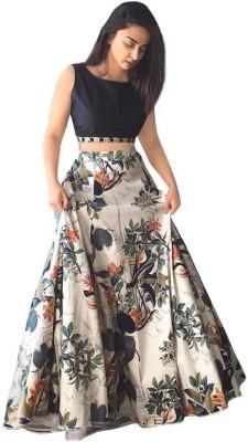 lovisa fashion Embroidered Semi Stitched Lehenga Choli(Blue)