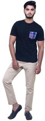 Madrasi Checks Solid Men Round Neck Black T-Shirt