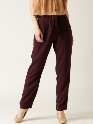 Marie Claire Regular Fit Women Maroon Trousers