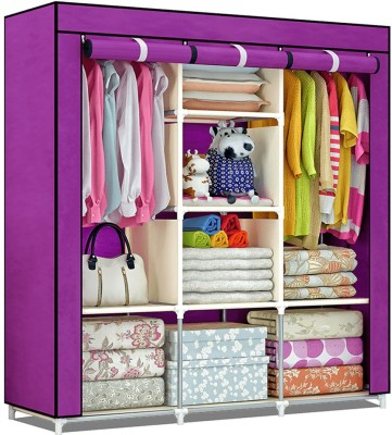 Furn Central 3 Door PP Collapsible Wardrobe(Finish Color - Purple)