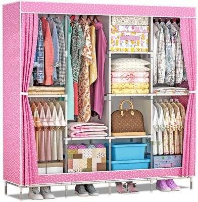 Furn Central PP Collapsible Wardrobe(Finish Color - Pink Dot)