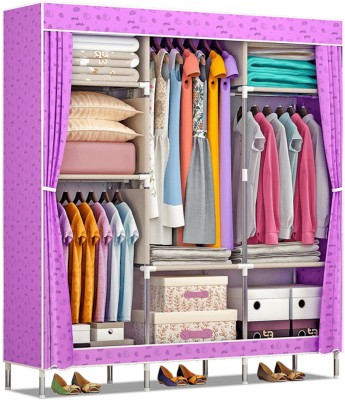 Furn Central 2 Door PP Collapsible Wardrobe(Finish Color - Purple Lemon)