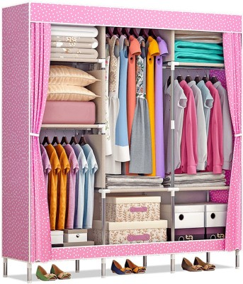 Furn Central 2 Door PP Collapsible Wardrobe(Finish Color - Pink Dot)