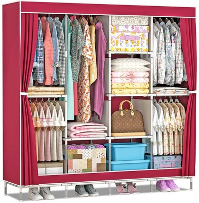 Flipkart SmartBuy 3 Door 8 Shelf PP Collapsible Wardrobe(Finish Color - Maroon)