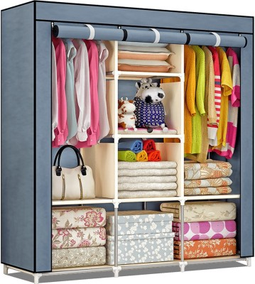 CbeeSo Carbon Steel Collapsible Wardrobe(Finish Color - Navy Blue)
