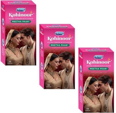 Durex Kohinoor PassionRaja.com Meetha Paan Monthly Pack (10s x 3 Pack = 30 Condoms) Condom(Set of 3, 10S)
