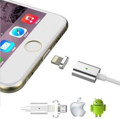 Voltegic ™ Strong Magnetic Adapter Micro Usb and Lightning 3.3ft Best Charging and Data Cable Sync Cord Magnetic Charging Cable(All iPhones (5,6,7,8 & X Series) , iPad & iPod, Silver) Flipkart