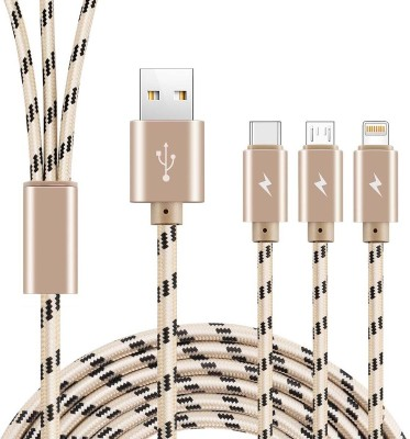 VibeX ™ Multi USB Charger Cable, COO 3 in 1 Charging Adaptor Plastic Aluminum Alloy 2.4A Lightning/Type-C/Micro USB Connector Cord Sync & Charge Cable(All iPhones (5,6,7,8 & X Series) , iPad & iPod, Gold, Black) Flipkart