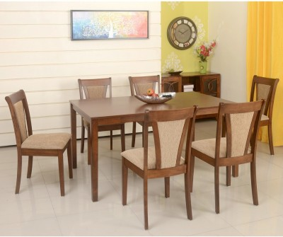 @home by Nilkamal Jewel Solid Wood 6 Seater Dining Set(Finish Color - Walnut)