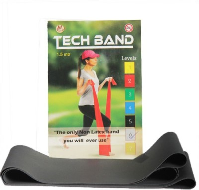 TECHBAND Latex Free Level 6 Silver Exercise Resistance Band Silver TECHBAND Fitness Bands